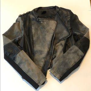 Double Zero Faux Leather/Jean Jacket